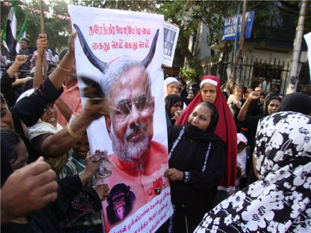 Muslims demonstrate against Modi Chennai