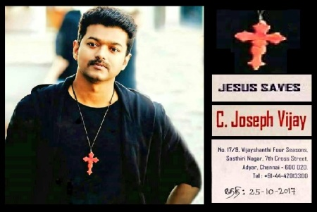 Joseph Vijay with cross chain letter dated 25-10-2017.