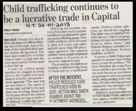 Child trafficking in 2013