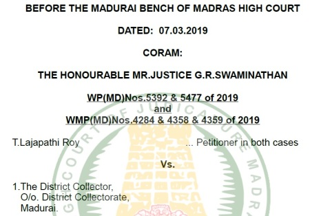 Madras High Court judment 7-3-2019