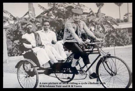 A rare picture of MGR riding a cycle rikshaw with M Krishnan Nair and R M Veera